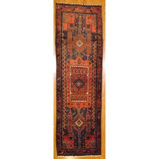 Persian Hand knotted Navy/ Rust Hamadan Wool Rug (4 x 135