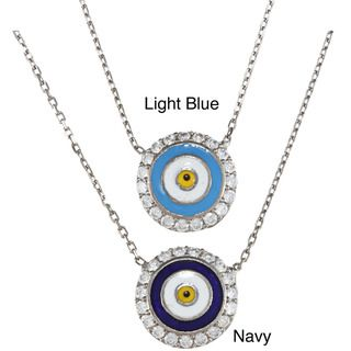 La Preciosa Sterling Silver Evil CZ Eye Necklace (17 inch)