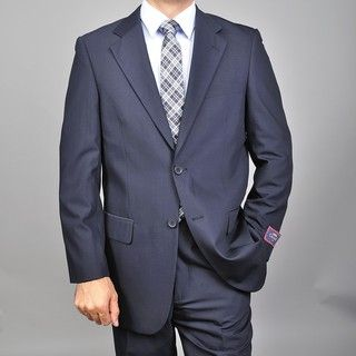 Carlo Lusso Mens Navy Blue Two button Suit