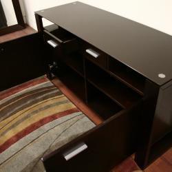 Layton Dark Brown Wood/ Glass Modern Sideboard