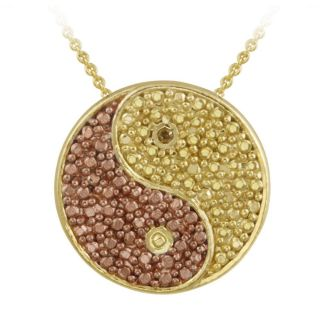 DB Designs 18k and Rose Gold over Silver Champagne Diamond Yin yang