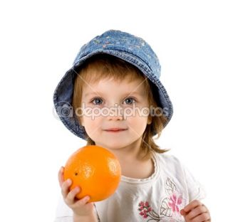 Cute little girl with orange  Stock Photo © Tetiana Vychegzhanina