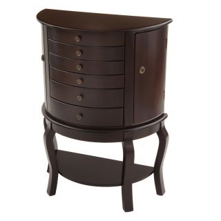 Bianco Collection Oyster Bay Half Round Espresso Jewelry Armoire Today