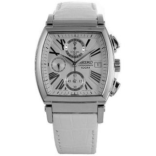 Seiko Womens White Leather Strap Chronograph Watch