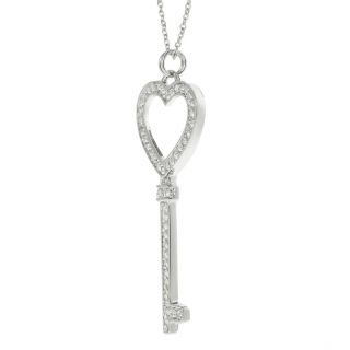 Journee Collection Silvertone Pave set CZ Heart Key Necklace