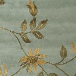 Handmade Soho Twigs Light Blue New Zealand Wool Rug (96 x 136