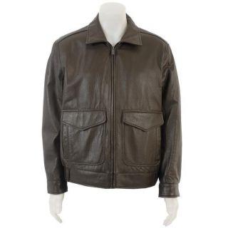 Dockers Mens Leather Bomber Jacket