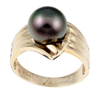 14k Yellow Gold Tahitian South Sea Pearl Ring (9 mm)