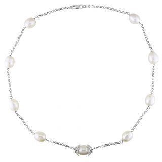Miadora 14k White Gold Pearl and Diamond Roundel Necklace (9 10 mm