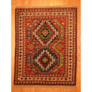 Persian Hand knotted Kurdish Rust/ Ivory Wool Rug (44 x 56