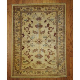 Afghan Hand knotted Vegetable Dye Ivory/ Beige Wool Rug (4 x 56