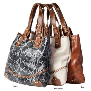Carla Mancini Python Embossed Leather Tote Bag