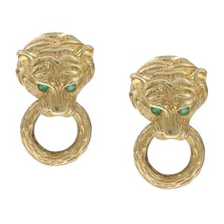 18k Gold Emerald Tiger Head Doorknocker Van Cleef & Arpels Estate
