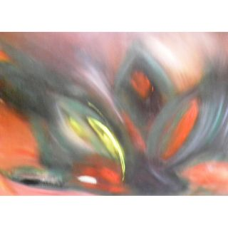 Abstract Red, Yellow and Black Original Canvas Painting (Cuba