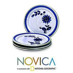 Set of 4 Ceramic Blue Chrysanthemum Salad Plates (El Salvador