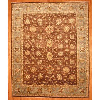 Indo Hand knotted Brown/ Light Brown Oushak Wool Rug (12 x 149
