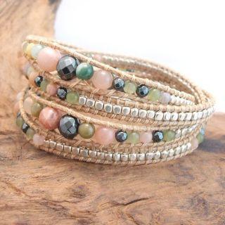 Earthy Gems Jasper Agate Stone Snake Cord Leather Wrap Bracelet