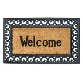 Welcome with Fleur Di Lys Border Recycled Rubber & Coir Doormat