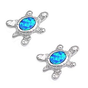 Sterling Silver Earring in Blue Lab Created Opal   Turtle
