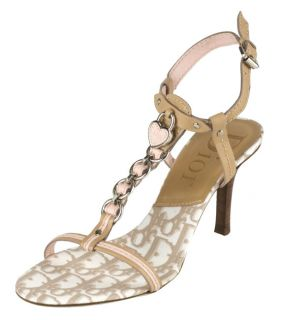 Dior Pink/ Tan Leather Trotter T strap Sandals