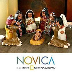 Set of 9 Handcrafted Ceramic Inca Christmas Nativity Scene (Peru