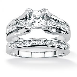 Ultimate CZ Platinum over Silver Princess Cut and Channel Set Round CZ