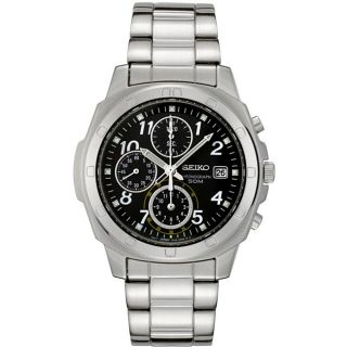 Seiko Mens Stainless Steel Dark Grey Chronograph Watch
