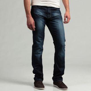Projek Mens Dark Blue Distressed Denim Jeans