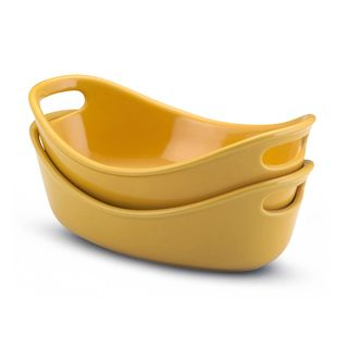 Rachael Ray Stoneware Yellow 12 oz Bubble and Brown Bakers (Set of 2