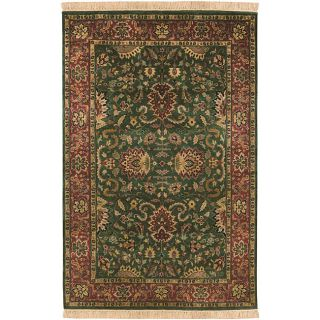 Hand knotted Finial Dark Forest Green Wool Rug (36 x 56)