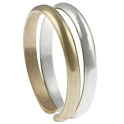 Tressa Two tone Sterling Silver Two band Toe Ring