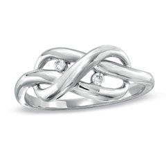 Diamond Accent Infinity Knot Ring in Sterling Silver