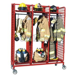 Grove RMSS 3/20 Turnout Gear Rack, Mobile, 3 Compartment