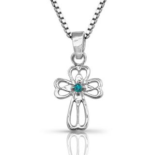 10k White Gold Diamond Accent Blue Diamond Cross Necklace