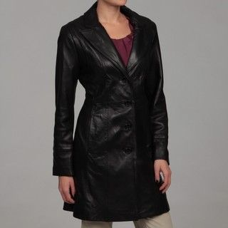Jones New York Womens Black Leather Coat FINAL SALE