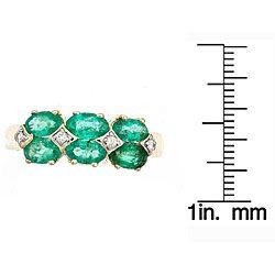 Yach 14K Yellow Gold Emerald and Diamond Ring (I J)