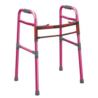 Drive Medical Pink Two button Folding Universal Walker