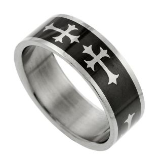 Stainless Steel Black Cross Ring