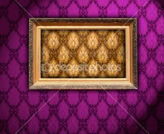 Carved Gilded Frame on Vintage Wallpaper  Foto stock © Digifuture