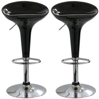 Black Molded Fiberglass Barstools (Set of 2)