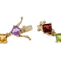 10k Yellow Gold Multi colored Gemstone Bracelet
