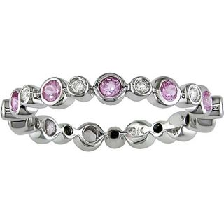 18k Gold Pink Sapphire and 1/10ct TDW Diamond Eternity Ring