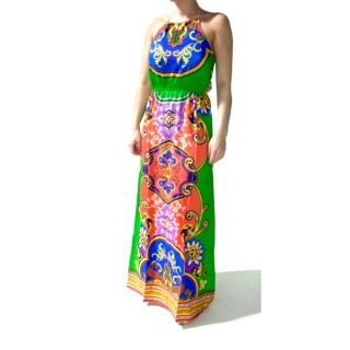 Tabeez Womens Vibrant Print Halter Maxi Dress