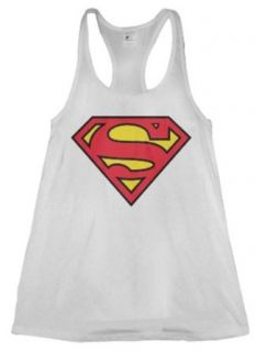Superman Logo Juniors White Tank Top: Clothing