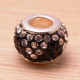 Bleek2Sheek Crystal Rhinestone Black and Clear Charm Bead