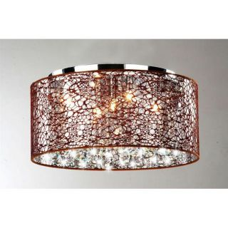 Indoor 5 light Brown and Chrome Flushmount Chandelier