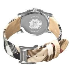 Burberry Womens Nova Check White Face Fabric Strap Watch
