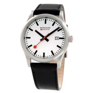 Mondaine Mens Sport GTS White Matte Dial Stainless Steel Watch
