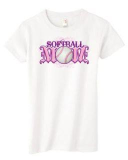 Softball Mom White Womens T Shirt Clothing