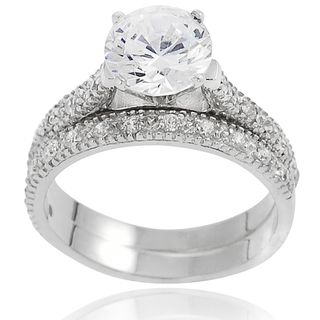 Tressa Sterling Silver Round Cubic Zirconia Bridal style Ring Set